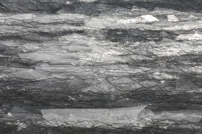 Broken Ice That Looks Like Broken Glass In Lake Erie; Ontario, Canada
