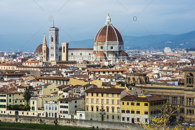 View Of The Cathedral Of Saint Mary Of The Flower, The Main Church Of Florence; Florence, Tuscany, Italy