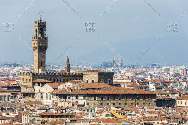 View Of The Old Palace (Also Known As Palazzo Vecchio) And The Historic Centre Of Florence; Florence, Tuscany, Italy