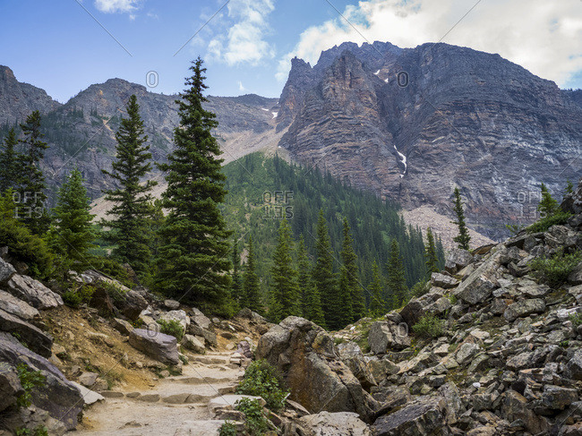 A trail leading through a rocky terrain in the Canadian Rocky Mountains, Banff National Park; Alberta, Canada