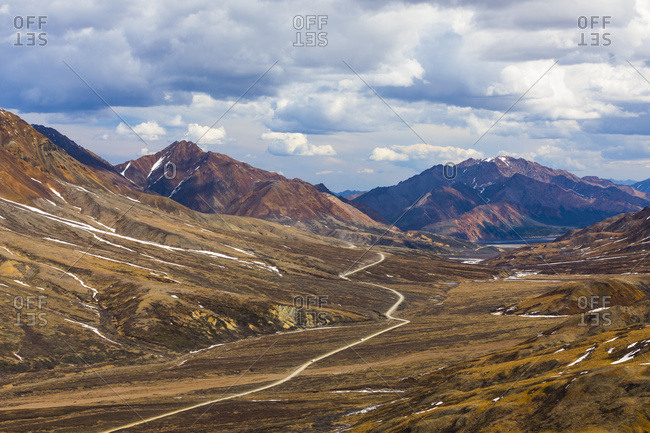 Buses travel along the park road near Highway Pass in Denali National Park; Alaska, United States of America