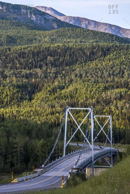 Liard River suspension bridge, last suspension bridge on the Alaska Highway; Liard, British Columbia, Canada