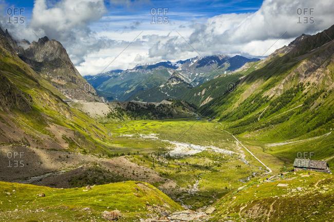 Overlook of Rifugio Elisabetta and Lac de Combal, Val Veni, Alps, Aosta Valley; Italy