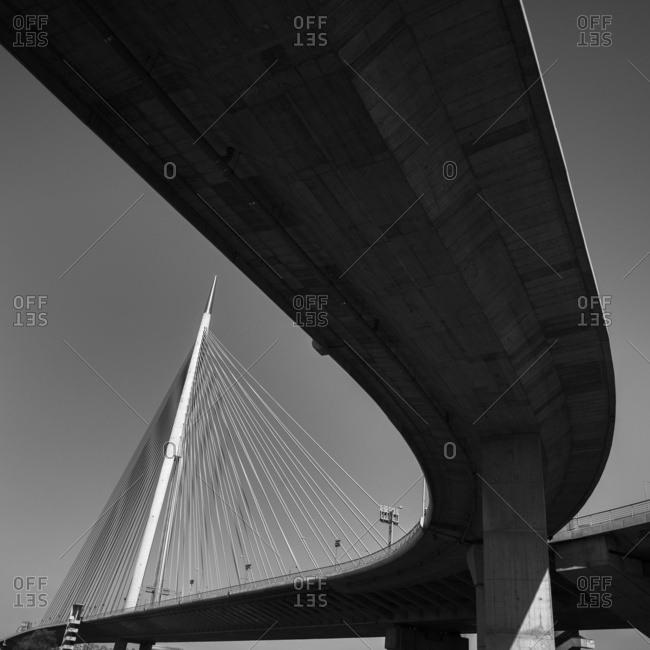 Architectural detail of the Ada Bridge over the Sava River; Belgrade, Vojvodina, Serbia