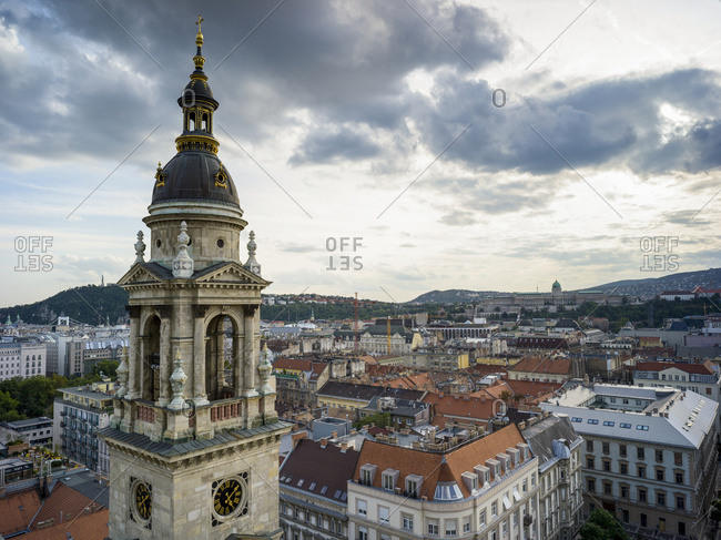 Tower of St. Stephen's Basilica and cityscape of Budapest; Budapest, Budapest, Hungary