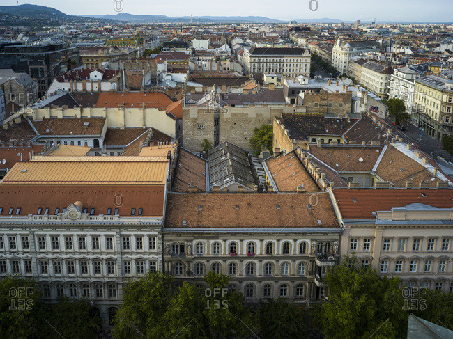 View of the cityscape of Budapest from St. Stephen's Basilica; Budapest, Budapest, Hungary