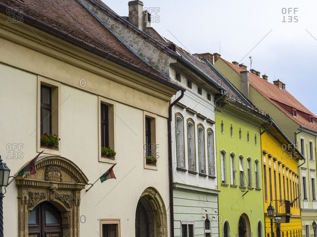 Colorful building facades in Buda's castle district, Budapest, Hungary