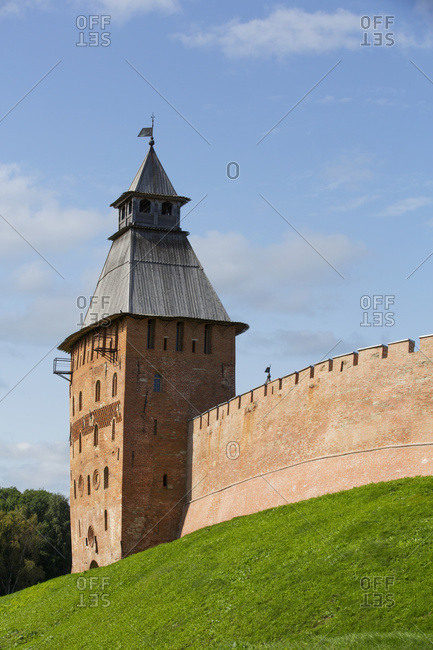 Spasskaya Tower, built in the 15th century, Kremlin Wall; Veliky Novgorod, Novgorod Oblast, Russia