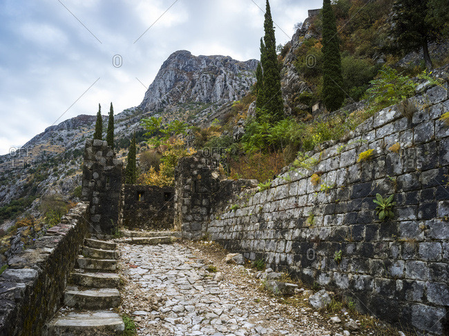 Steps and trail at the Kotor Fortress; Montenegro