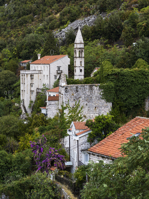 Old stone buildings on the hillside surrounded by trees and foliage; Montenegro