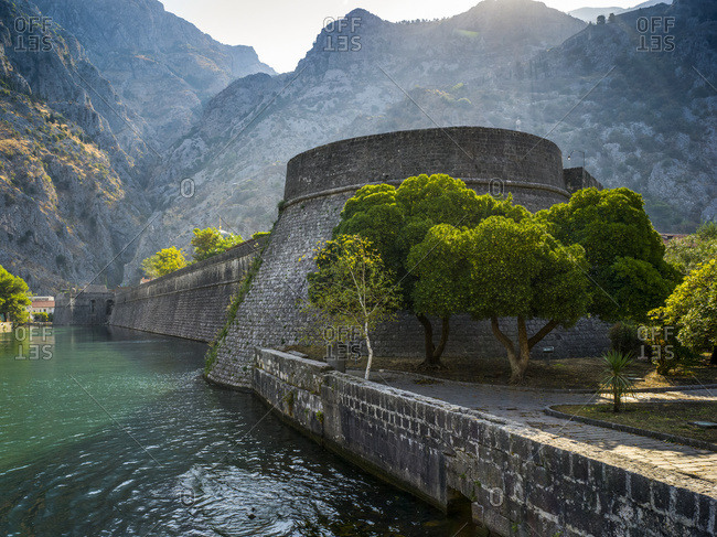 Walls in the old Mediterranean port of Kotor in the Bay of Kotor; Kotor, Kotor Municipality, Montenegro