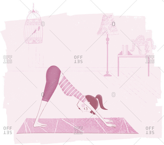 Pink Illustration Of A Woman Doing A Yoga Pose