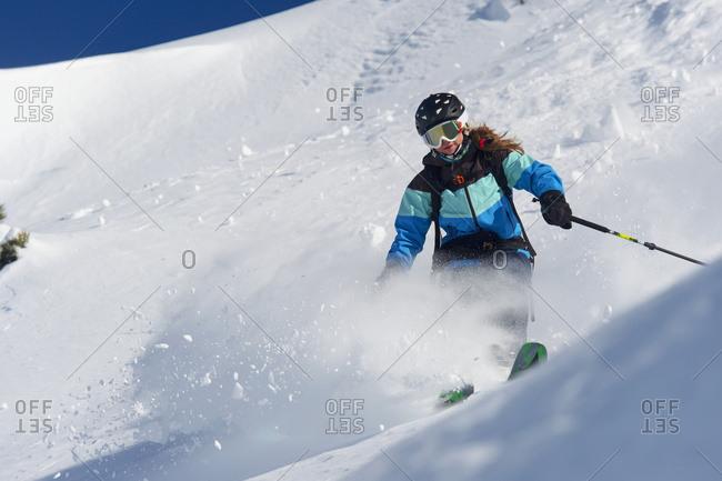 Skiing In Powder Snow; St. Moritz, Graubunden, Switzerland