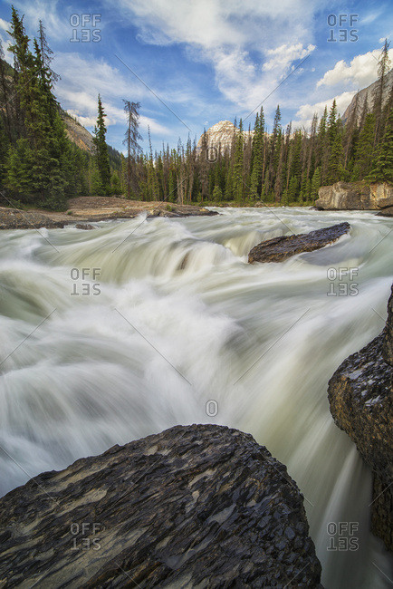 The Kicking Horse River Flows Over A Waterfall Before It Goes Beneath A Natural Bridge, Yoho National Park; British Columbia, Canada