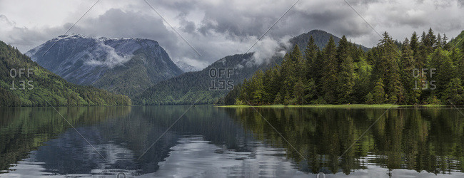Panoramic View Looking Into The Estuary Of The Khutzeymateen Grizzly Bear Sanctuary; British Columbia, Canada