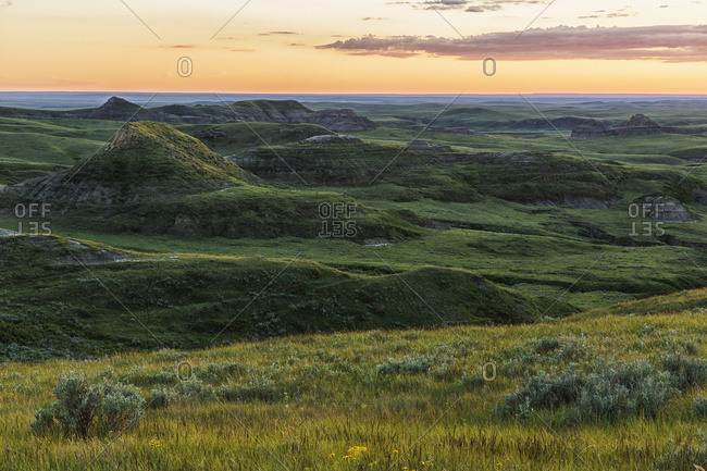 Sunset Over Killdeer Badlands In Grasslands National Park; Saskatchewan, Canada