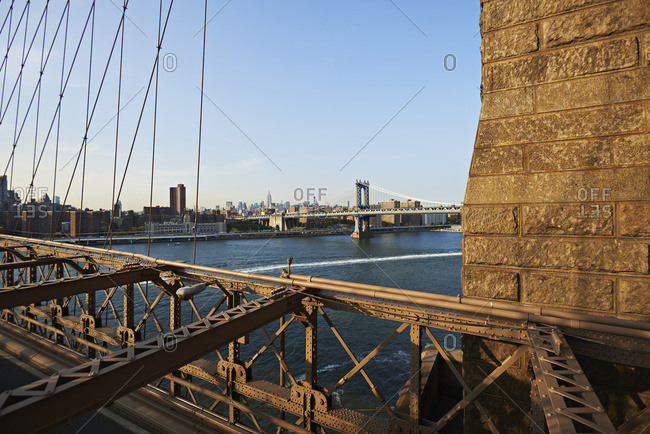 View From Brooklyn Bridge Across New York Harbor To Manhattan Bridge; New York City, New York, United States Of America