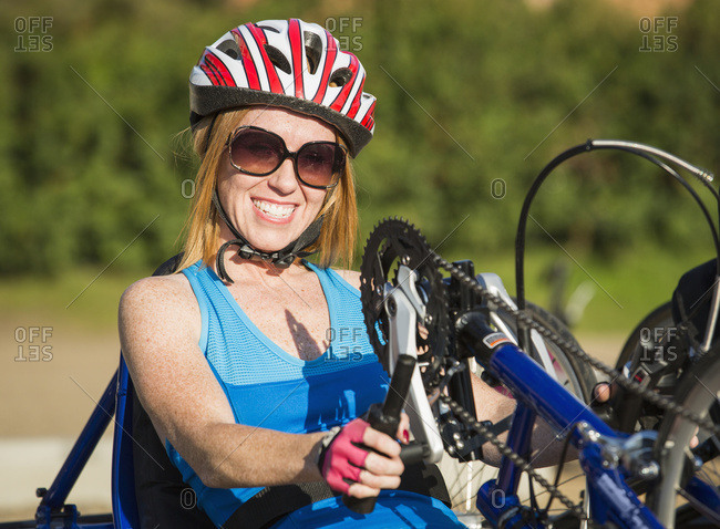 Woman With Spinal Cord Injury Cycling Using Hand Propelled Bicycle; Edmonton, Alberta, Canada