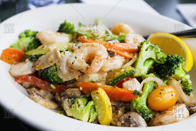 Seafood Dish With Vegetables; Massachusetts, United States Of America
