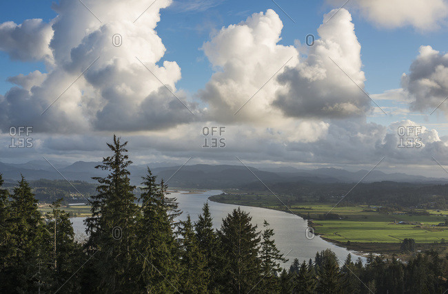 Clouds Drift Over Youngs Bay; Astoria, Oregon, United States Of America