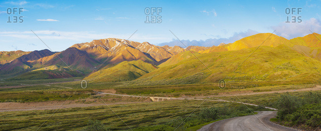Scenic View Of The Park Road And Stony Dome Wining Down Highway Pass At Sunset, Denali National Park, Interior Alaska
