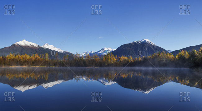 Scenic Autumn View Of Moose Lake With Mendenhall Towers In The Distance, Tongass National Forest, Mendenhall Recreation Area, Southeast Alaska