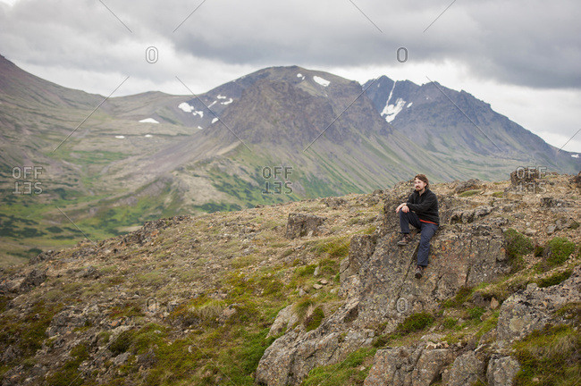 Male Hiker Along Flat Top Mountain Trail Near Anchorage, Chugach Mountains, South-central Alaska, Summer