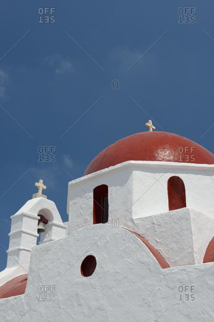 A Red Domed Church; Mykonos Town, Mykonos, Cyclades, Greek Islands, Greece