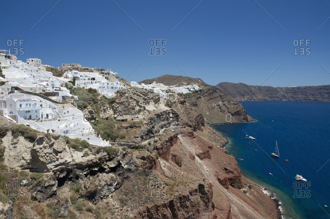 Whitewashed Stone Houses Above The Caldera; Oia, Santorini, Cyclades, Greek Islands, Greece