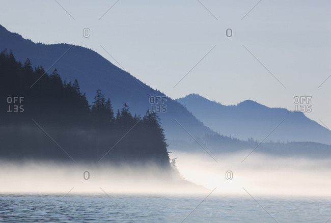 A Foggy Morning On Johnstone Strait On The Coast; British Columbia, Canada