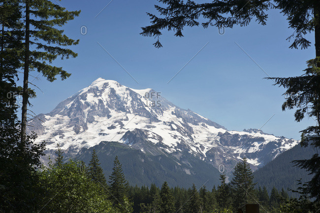 Scenic View Of Mount Rainier From The Area Of Carbonado In Summer, Washington, USA
