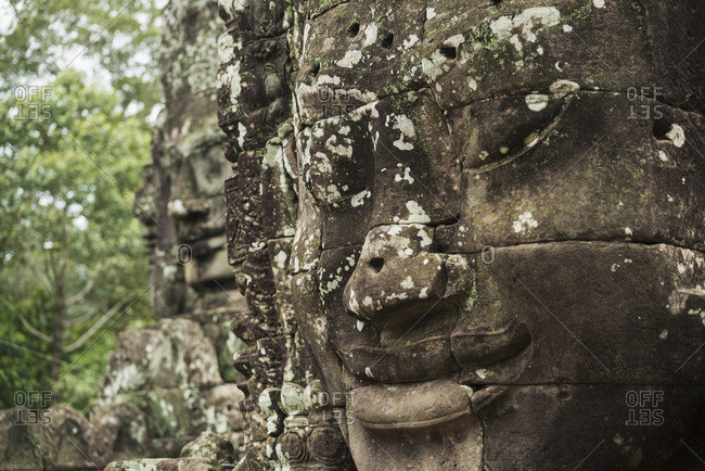 Impressive Buddha's Faces In Bayon Wat, Built By The King Jayavarman Vii In The End Of The 12th Century, From Angkor; Siem Reap, Cambodia