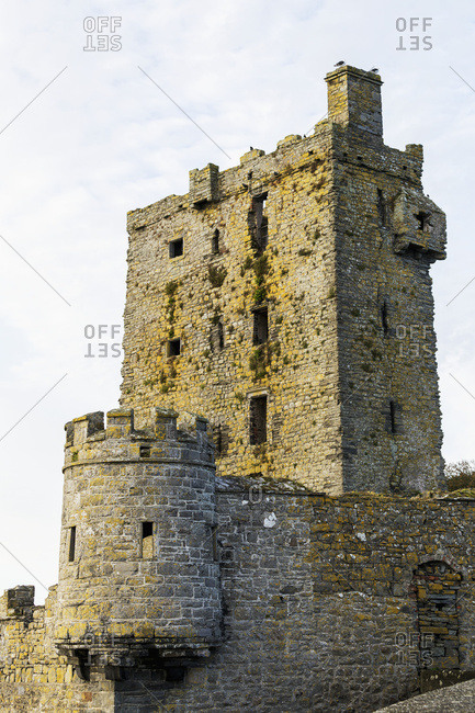 Old Stone Castle With Turret And Wall; Carrigaholt, County Clare, Ireland