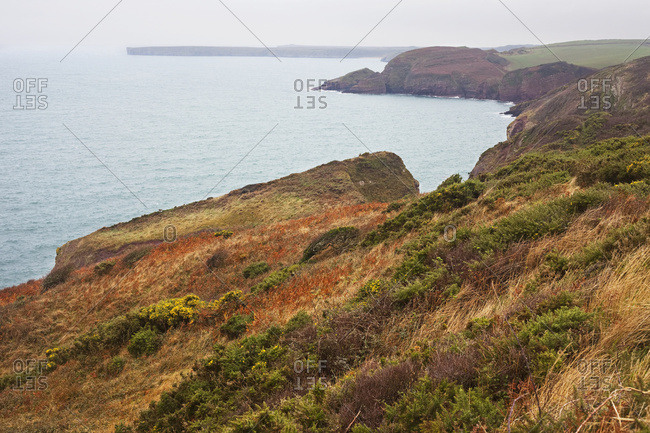 The Pembrokeshire Coastal Path Between Freshwater East And Stackpole Quay; Wales