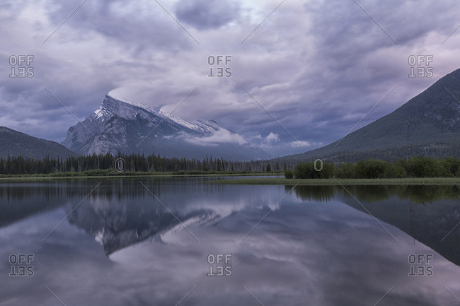 Storm Clouds Over Mount Rundle And The Vermillion Lakes, Banff National Park; Alberta, Canada