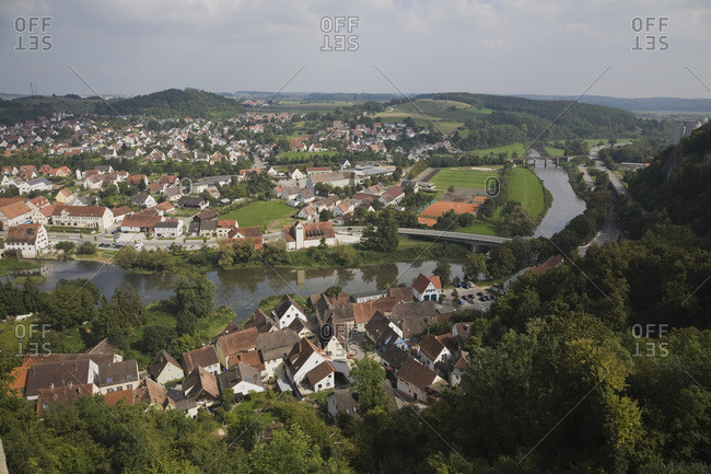 Medieval Town Of Harburg And The Elbe River In Late Summer; Harburg, Bavaria, Germany