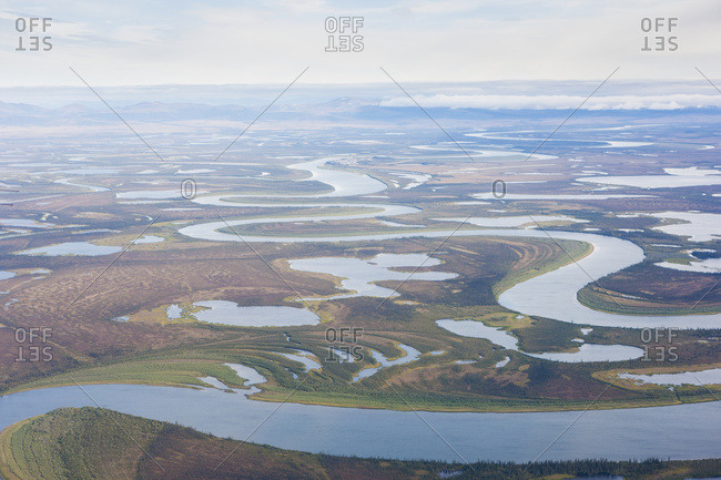 An Aerial View Of The Kobuk River Delta And Surrounding Wetlands, Kobuk, Arctic Alaska, Summer