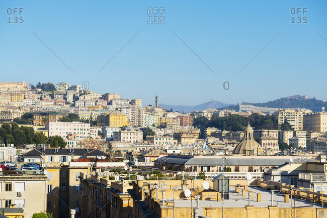 Cityscape Against A Blue Sky; Genoa, Liguria, Italy
