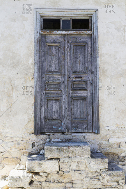 Weathered Wooden Door With Stone Slab Steps; Arsos, Limassol, Cyprus