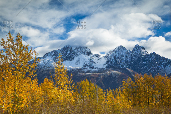 Twin Peaks And Matanuska River Meadow, Surrounded By Autumn Coloured Birch Trees, Palmer Hay Flats State Game Refuge; Alaska, United State Of America