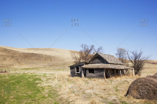 Lonely, Dilapidated, Abandoned Homestead On The Prairies Surrounded By Dying Grass, Trees And Hay Bales; Carbon, Alberta, Canada