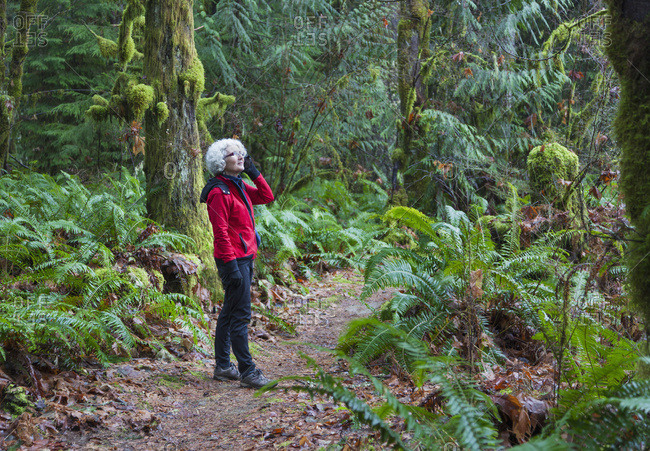 A Mature Woman On A Cell Phone Hiking In The Rainforest In The Cowichan Valley; British Columbia, Canada