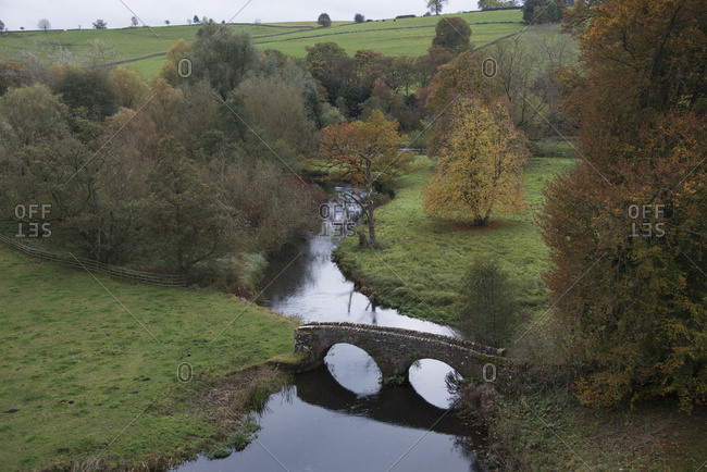 Romantic English Countryside In Autumn; Derbyshire, England