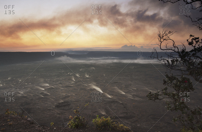 Morning Glow Over Halemaumau Crater And Steam Vents At Kilauea Volcano, Hawaii Volcanoes National Park; Island Of Hawaii, Hawaii, United States Of America
