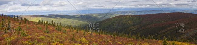 The Multi-Coloured Hills And Mountains Along The Top Of The World Highway, Near Dawson City; Yukon, Canada