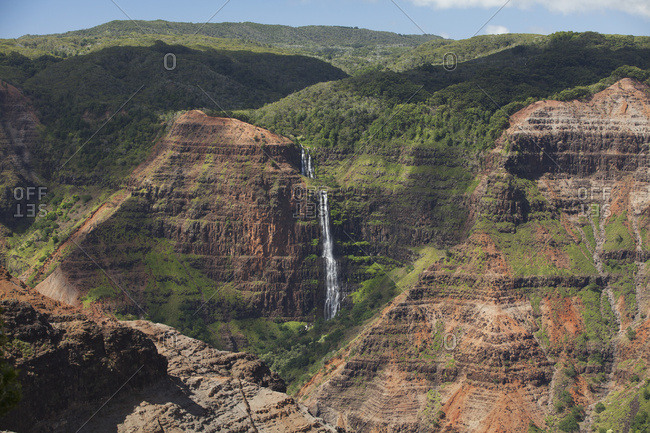 Waipoo Falls In Waimea Canyon, At Kokee State Park; Kauai, Hawaii, United States Of America