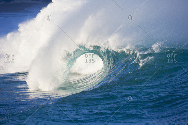 Waves Breaking At Waimea Bay On The North Shore Of Oahu; Oahu, Hawaii, United States Of America