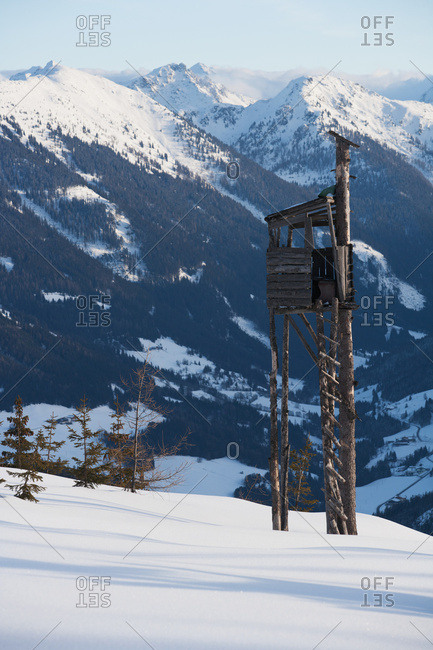 A Watch Tower At The Top Of A Ski Piste With Views Across The Mountain Peaks Of The Austrian Alps; Filzmoos, Austria