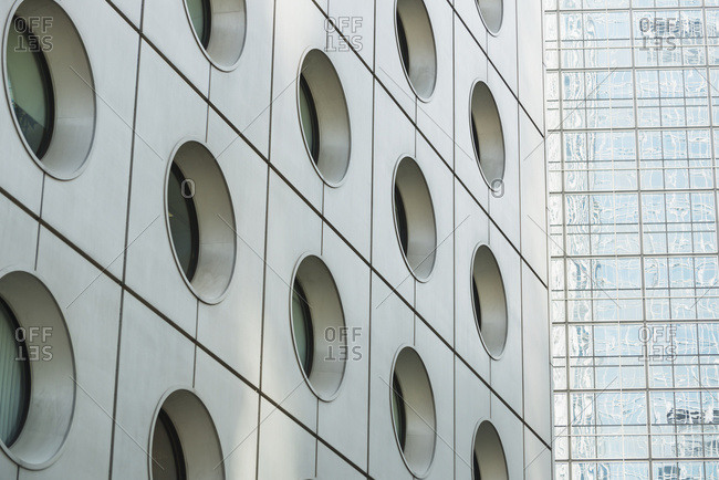 Detail Of The Facade Of Two Famous Skyscrapers In Central Hong Kong; Hong Kong, China
