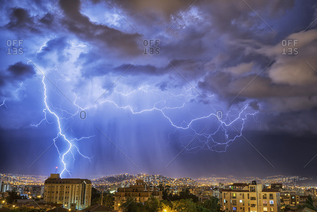 Lightning Lights Up The Night Skies Above The City Of Cochabamba; Cochabamba, Bolivia